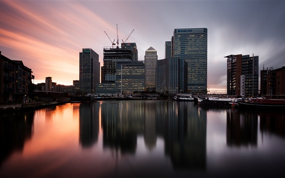 Wallpaper London, England, Canary Wharf, twilight, sunset, skyscrapers, river, boats