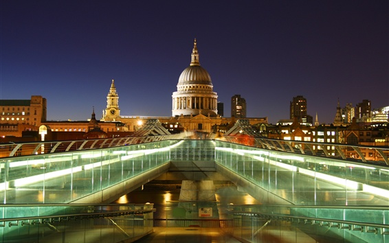 Wallpaper London, England, capital, St. Paul's Cathedral, lights, night