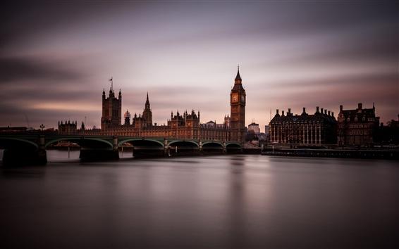 Wallpaper London, England, river, bridge, dusk