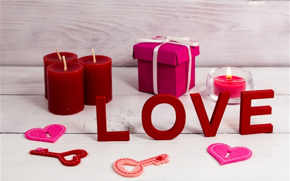 Wallpaper Love, candle, gift