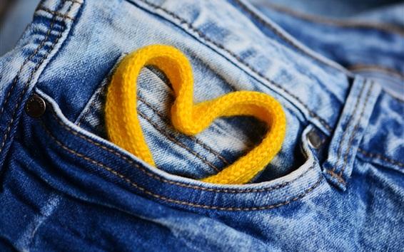 Wallpaper Love heart lace, jeans