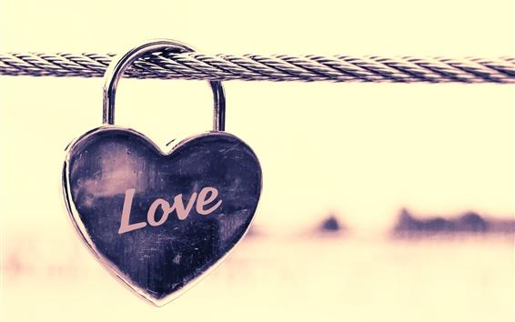Wallpaper Love heart lock, wire