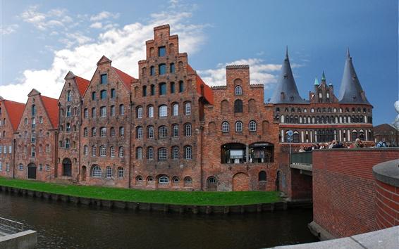 Papéis de Parede Lubeck, Alemanha, ponte, rio, edifícios