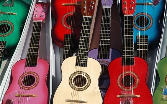 壁紙 多くのギター、色、音楽のテーマ