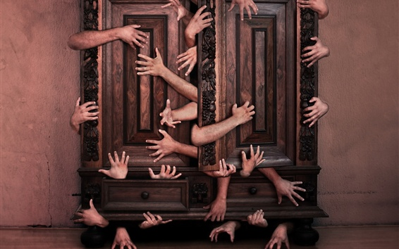 Wallpaper Many hands, cabinet, creative picture