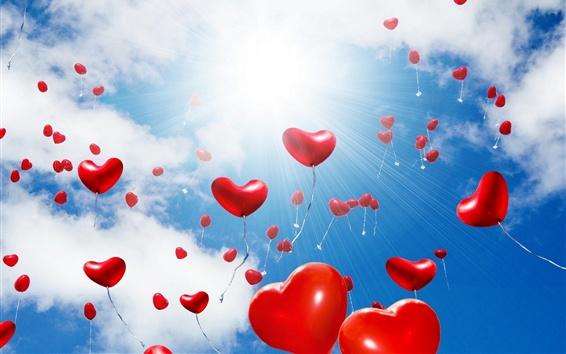Обои Многие любят сердца воздушные шары полета, блики, солнце, облака