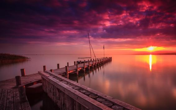 Wallpaper Marina, dawn, lake, sunrise, clouds