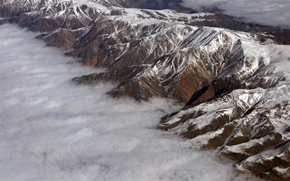Papéis de Parede Montanha, neve, nuvens, vista de cima