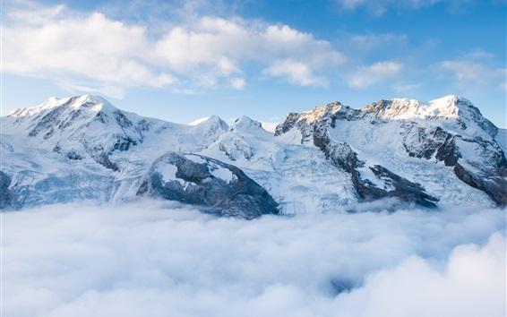 Papéis de Parede Montanhas, neve, nevoeiro, nuvens, céu