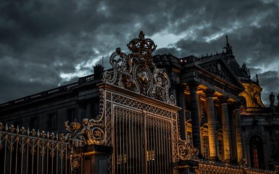 Обои Ночь, замок, ворота