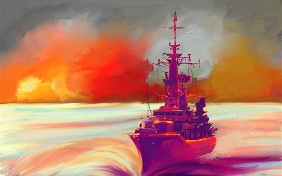 Fond d'écran Peinture à l'huile, bateau, mer, coucher de soleil, coloré
