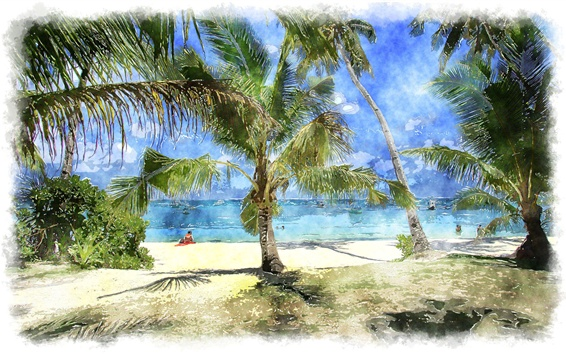 Wallpaper Palm trees, sea, beach, watercolor painting