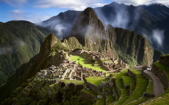 Wallpaper Peru, ancient city, Machu Picchu, South America, clouds, mountains