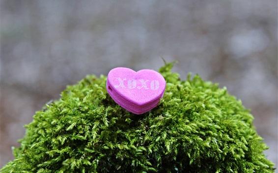 Wallpaper Pink love heart, plants