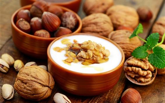 Wallpaper Pistachios, nuts, walnut, sweet yogurt