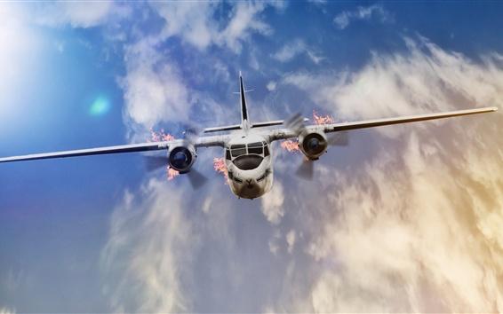 Wallpaper Plane flight, flame, crash