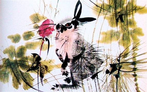 Wallpaper Rabbit and red flower, watercolor