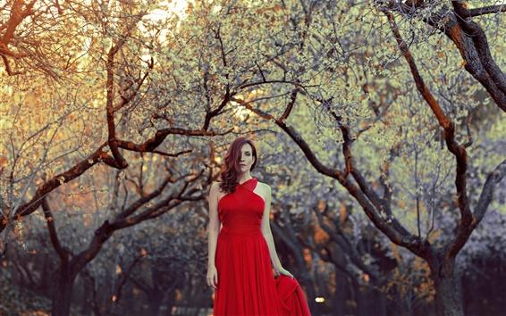 Wallpaper Red dress girl, hair style, trees