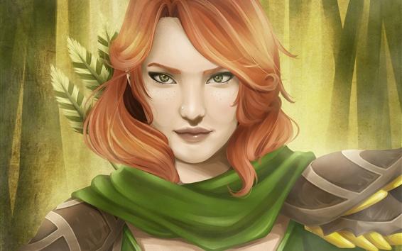 Fondos de pantalla Muchacha de la fantasía del pelo rojo, archer