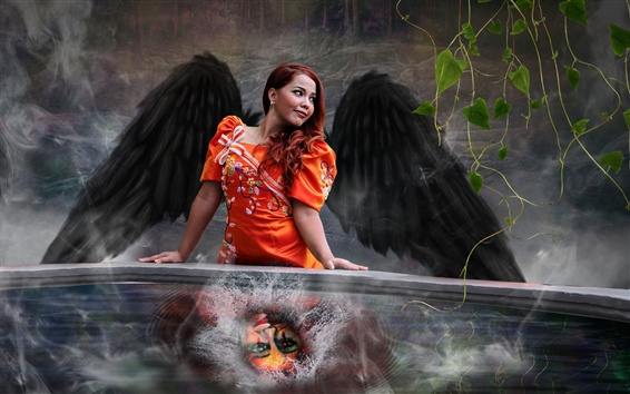 배경 화면 빨간 머리 여자, 날개, 창조적 인