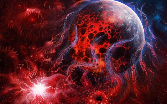 Wallpaper Red planet, monster, space, creative picture