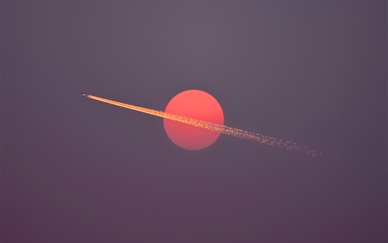 Wallpaper Red sun, aircraft flight, sky, dusk