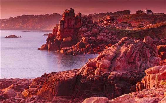 Wallpaper Rocks, sea, red style, sunset