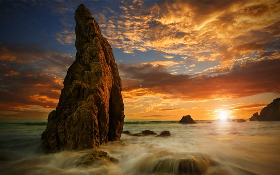 Wallpaper Rocks, sea, water, clouds, sunset