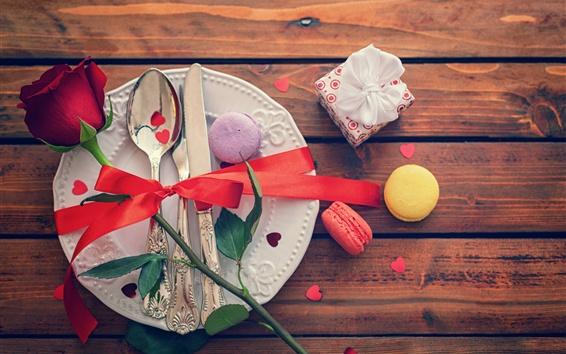 Fondos de pantalla Rose, regalo, tenedor, cuchara, cuchillo, pastel