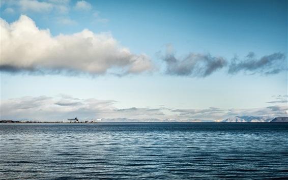 Wallpaper Sea horizon, calm water, clouds, sky