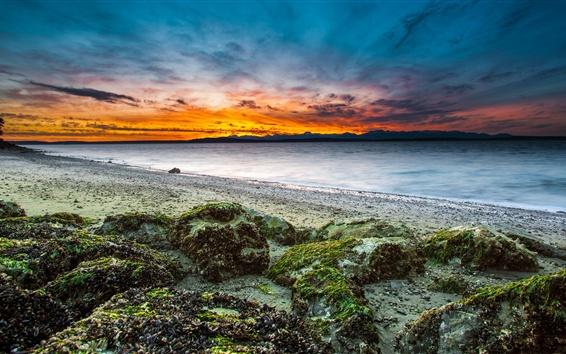 Wallpaper Sea, stones, clouds, dusk, sunset