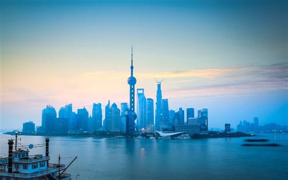 Papéis de Parede Xangai, Pudong, rio, arranha-céus, manhã, neblina