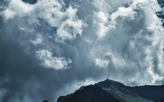 Wallpaper Sky, clouds, mountains, dusk