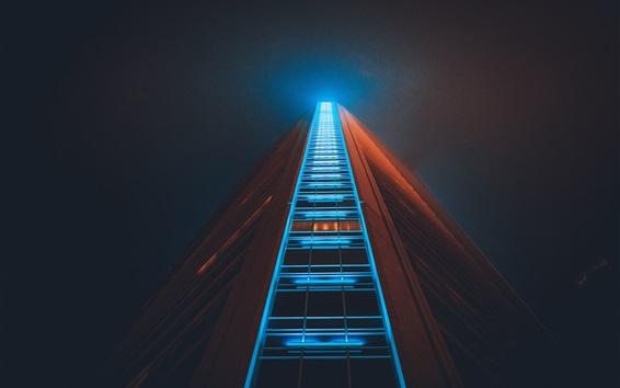 Papéis de Parede Arranha-céu, estrutura de construção, luz, noite