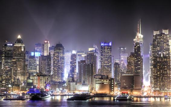 Wallpaper Skyscrapers, megapolis, night, city, lights, Union City, New Jersey