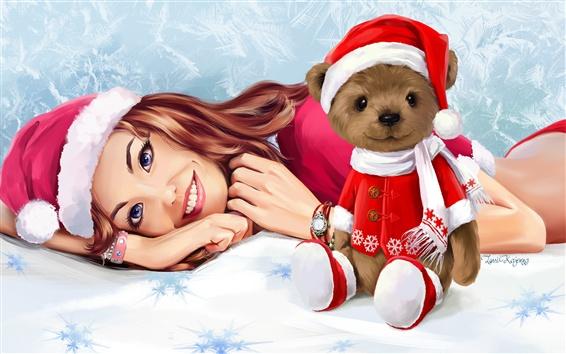 壁紙 スマイルガール、テディベア、クリスマス