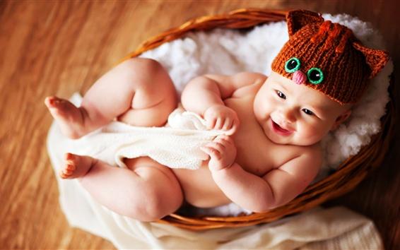 Wallpaper Smiling baby in basket