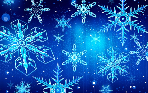 Wallpaper Snowflakes, blue background