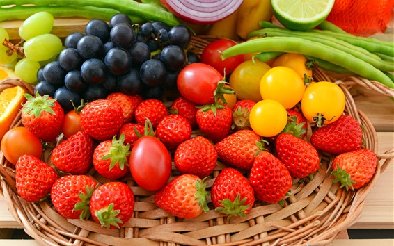 Wallpaper Strawberry, tomato, grapes, beans