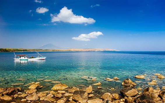 배경 화면 여름, 바다, 돌, 보트, 푸른 하늘, 구름