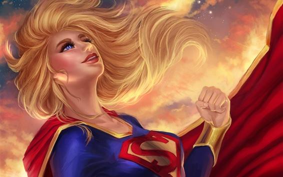 Papéis de Parede Supergirl, olhos azuis, loira, DC Comics, foto de arte