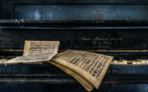 Wallpaper Symphony, notes, piano, dust