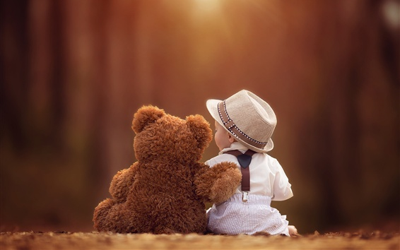 Wallpaper Teddy bear and baby are friends, together, back view