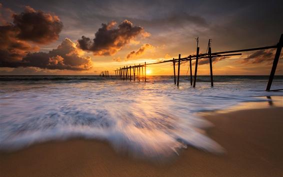 Wallpaper Thailand, evening, sea, waves, beach, sunset