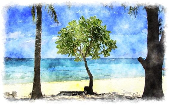 Fond d'écran Plage tropicale, arbres, mer, aquarelle