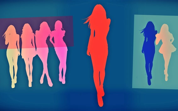 Wallpaper Vector girls, colorful