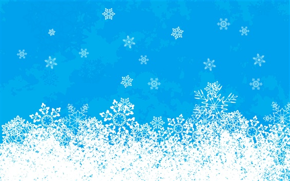 Wallpaper Vector picture, snowflakes, blue sky