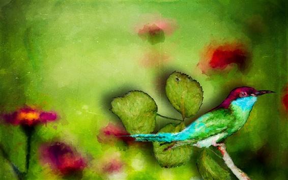 배경 화면 수채화 물감, 물총새, 녹색 잎