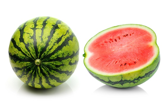 Wallpaper Watermelon, summer fruit, white background
