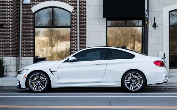 Wallpaper White BMW car side view, street, house